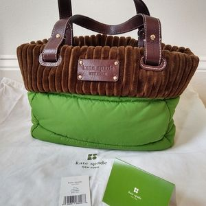 Kate Spade quilted nylon and velour bag
